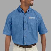 EMB - M550S Harriton Men's 6.5 oz. Short-Sleeve Denim Shirt