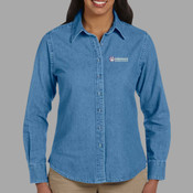EMB - M550W Harriton Ladies' 6.5 oz. Long-Sleeve Denim Shirt